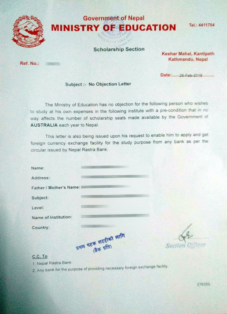 sample of no objection letter of nepal